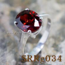 แหวนโกเมน แหวนเงิน แหวนพลอยสีแดงเข้ม พลอยเม็ดเดี่ยว แหวนเงินแท้