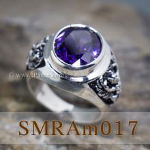 แหวนครุฑ แหวนพลอยผู้ชาย รมดำ แหวนเงินแท้ ฝังพลอยสีม่วง อะมิทิสต์