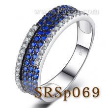 แหวนไพลิน ฝังเรียงแถว แหวนเงินแท้ พลอยสีน้ำเงิน ประดับเพชร
