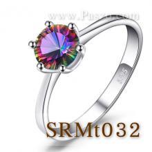 แหวนพลอยสีรุ้ง พลอยเม็ดกลม แหวนเม็ดเดี่ยว แหวนเงินแท้ พลอยโทพาซสีรุ้ง