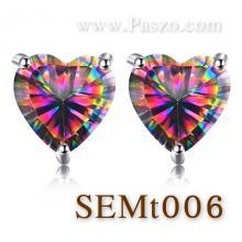 ต่างหูพลอยสีรุ้ง ต่างหูพลอยหัวใจ ต่างหูเม็ดเดี่ยว ต่างหูเงินแท้ พลอยสีรุ้ง พลอยรูปหัวใจ
