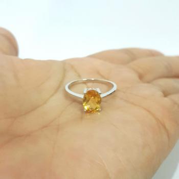 แหวนพลอยซิทริน แหวนเงิน แหวนพลอยเม็ดเดี่ยว #9