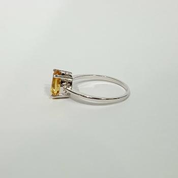 แหวนพลอยซิทริน แหวนเงิน แหวนพลอยเม็ดเดี่ยว #7