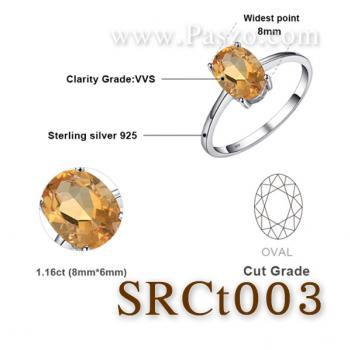 แหวนพลอยซิทริน แหวนเงิน แหวนพลอยเม็ดเดี่ยว #6