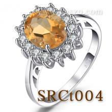 แหวนพลอยซิทริน แหวนล้อมเพชร แหวนเงินแท้ พลอยสีเหลือง