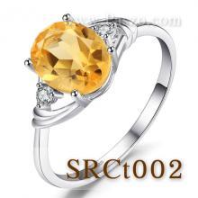 แหวนพลอยซิทริน แหวนเงิน พลอยสีเหลือง ประดับเพชร แหวนเงินแท้