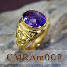 แหวนผู้ชายทอง แหวนพญาครุฑ ฝังพลอยสีม่วง แหวนพลอยสีม่วง อะเมทีส แหวนผู้ชายทองแท้