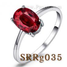 แหวนพลอยโกเมน พลอยสีแดงก่ำ แหวนเม็ดเดี่ยว แหวนเงินแท้