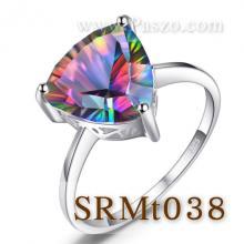 แหวนพลอยสีรุ้ง พลอยสามเหลี่ยม แหวนพลอยเม็ดเดี่ยว แหวนเงินแท้
