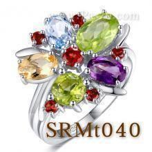 แหวนพลอยหลากสี แหวนรูปดอกไม้ แหวนเงินแท้