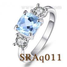 แหวนพลอยอะความารีน เม็ดสี่เหลี่ยม ประดับเพชร แหวนเงินแท้