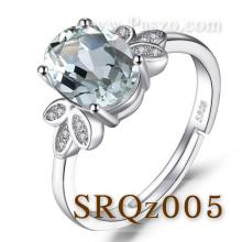 แหวนฝังควอตซ์ แหวนเงินแท้ ประดับเพชร