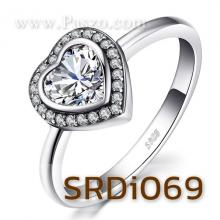 แหวนหัวใจ แหวนเพชร แหวนเงินแท้