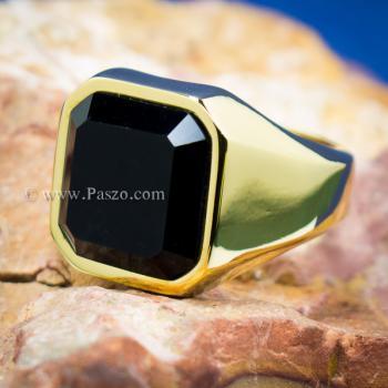แหวนนิล แหวนผู้ชายพลอยสี่เหลี่ยม แหวนทองชุบ #4