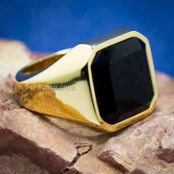แหวนนิล แหวนผู้ชายพลอยสี่เหลี่ยม แหวนทองชุบ #2