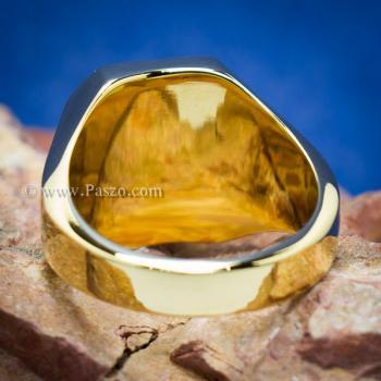 แหวนนิล แหวนผู้ชายพลอยสี่เหลี่ยม แหวนทองชุบ #3