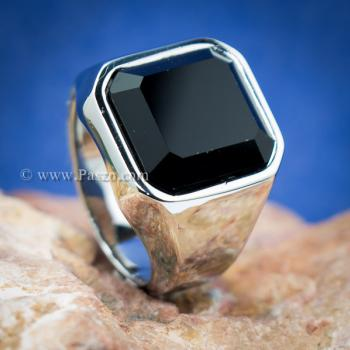 แหวนนิล แหวนผู้ชายพลอยสี่เหลี่ยม แหวนสแตนเลส #2