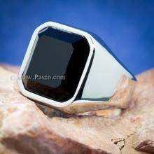 แหวนนิล แหวนผู้ชายพลอยสี่เหลี่ยม แหวนสแตนเลส แหวนผู้ชาย แหวนทรงสี่เหลี่ยม แหวนเทห์ๆ