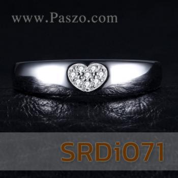 แหวนรูปหัวใจ แหวนเพชร แหวนเงินแท้ #5