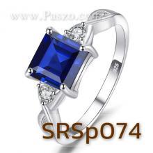แหวนพลอยไพลิน เม็ดสี่เหลี่ยม ประดับเพชร แหวนเงินแท้ แหวนฝังพลอยสีน้ำเงิน