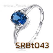 แหวนพลอยสีฟ้า แหวนพลอยบลูโทพาซ ประดับเพชร พลอยสีฟ้า