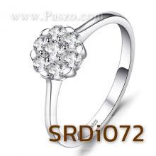 แหวนเพชร แหวนดอกไม้ ฝังเพชร แหวนเงินแท้