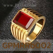 แหวนผู้ชาย พลอยทับทิม แหวนทองชุบ แหวนสแตนเลส พลอยสีแดง