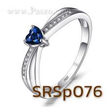 แหวนพลอยรูปหัวใจ แหวนพลอยไพลิน พลอยสีน้ำเงิน แหวนเงินแท้ แหวนแห่งรัก