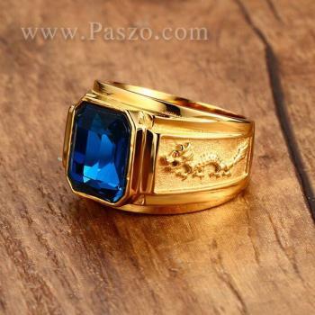 แหวนผู้ชาย แหวนพลอยสีฟ้า แหวนทองชุบ #4