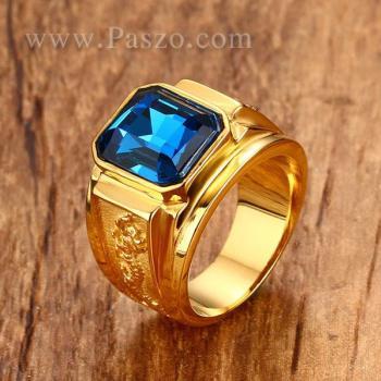 แหวนผู้ชาย แหวนพลอยสีฟ้า แหวนทองชุบ #3