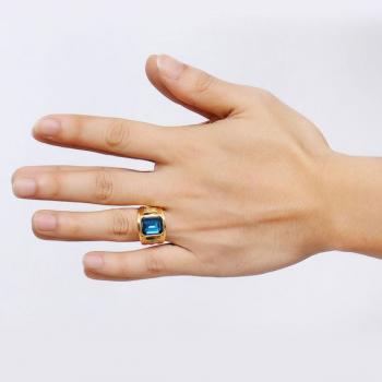 แหวนผู้ชาย แหวนพลอยสีฟ้า แหวนทองชุบ #2