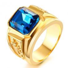 แหวนผู้ชาย แหวนพลอยสีฟ้า แหวนทองชุบ แหวนมังกร พลอยสีฟ้า