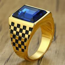 แหวนผู้ชาย พลอยสีน้ำเงิน แหวนทองชุบ พลอยสี่เหลี่ยม