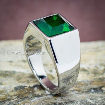 แหวนสแตนเลส แหวนพลอยสีเขียว พลอยเม็ดสี่เหลี่ยม #2