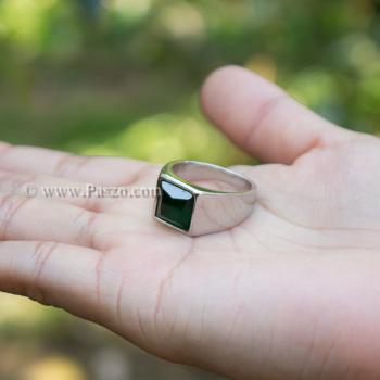 แหวนสแตนเลส แหวนพลอยสีเขียว พลอยเม็ดสี่เหลี่ยม #5