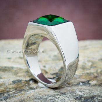 แหวนสแตนเลส แหวนพลอยสีเขียว พลอยเม็ดสี่เหลี่ยม #4
