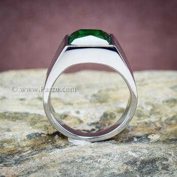 แหวนสแตนเลส แหวนพลอยสีเขียว พลอยเม็ดสี่เหลี่ยม #3