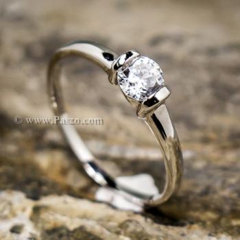 แหวนพลอยเม็ดเดี่ยว แหวนเพชร แหนเงินแท้ #2