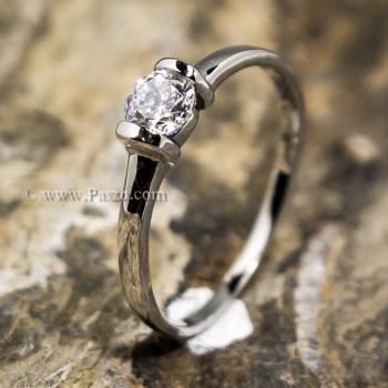 แหวนพลอยเม็ดเดี่ยว แหวนเพชร แหนเงินแท้ #3