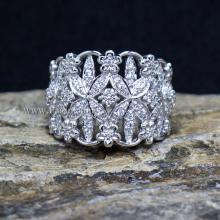 แหวนเพชร แหวนดอกไม้ แหวนเงินแท้ ฝังเพชร
