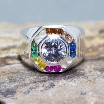 แหวนนพเก้า แหวนผู้ชาย แหวนแปดเหลี่ยม #5
