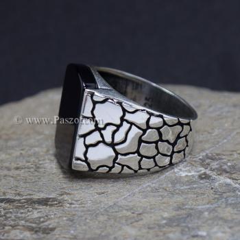 แหวนผู้ชาย ฝังอาเกตสีดำ แหวนเงินแท้ #3