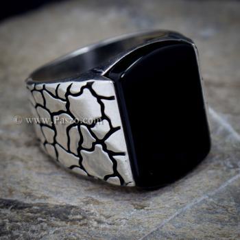 แหวนผู้ชาย ฝังอาเกตสีดำ แหวนเงินแท้ #2