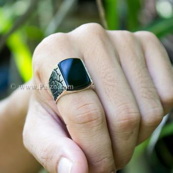 แหวนผู้ชาย ฝังอาเกตสีดำ แหวนเงินแท้ #5