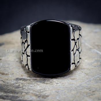 แหวนผู้ชาย ฝังอาเกตสีดำ แหวนเงินแท้ #4