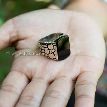 แหวนผู้ชาย ฝังอาเกตสีดำ แหวนเงินแท้ #6