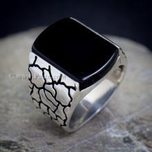 แหวนผู้ชาย ฝังอาเกตสีดำ แหวนเงินแท้