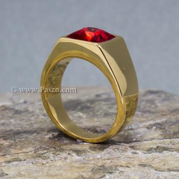 แหวนพลอยสีแดง แหวนผู้ชาย แหวนทองชุบ #3