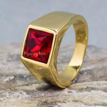 แหวนพลอยสีแดง แหวนผู้ชาย แหวนทองชุบ