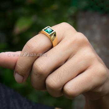 แหวนผู้ชาย ฝังพลอยสีเขียวมรกต แหวนทองชุบ #3